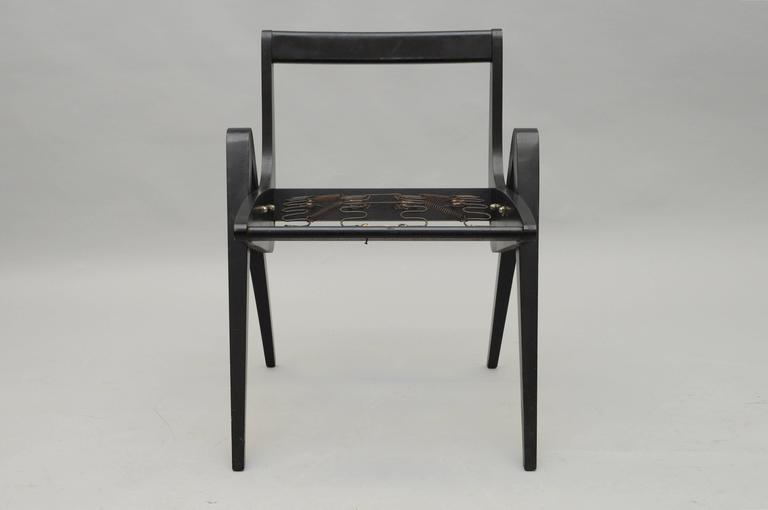 American 1950s Black Ebonized Compass Side Chair After Allan Gould or Pierre Jeanneret For Sale