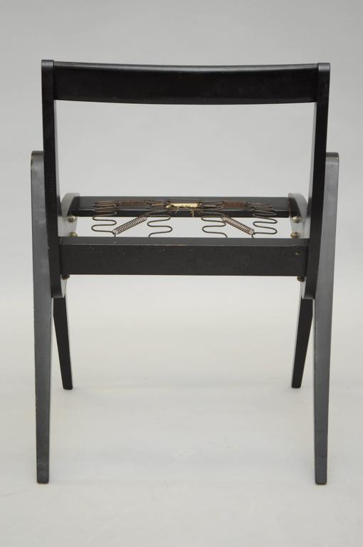 Wood 1950s Black Ebonized Compass Side Chair After Allan Gould or Pierre Jeanneret For Sale
