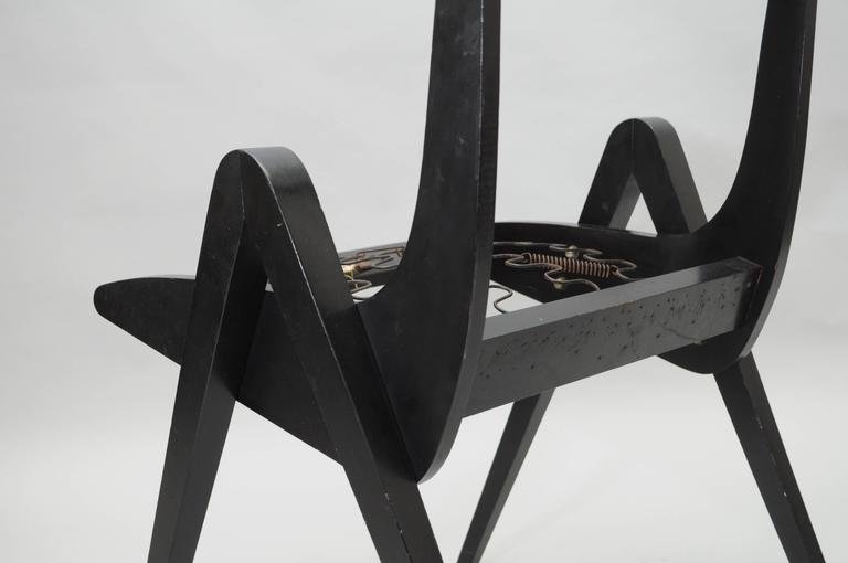Mid-20th Century 1950s Black Ebonized Compass Side Chair After Allan Gould or Pierre Jeanneret For Sale