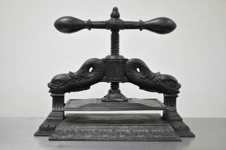 American Classical Ornate Antique 19th C Cast Iron Classical Dolphin Bookbinders Book Binders Press For Sale