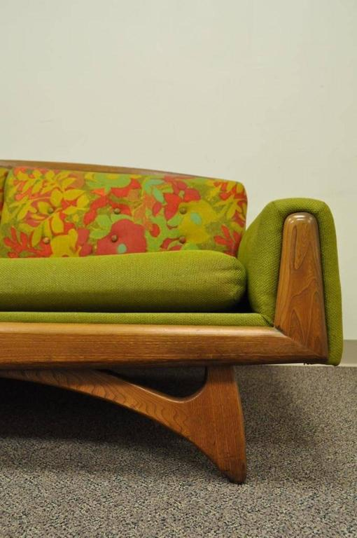 Kroehler Mid Century Modern Walnut Sofa After Adrian Pearsall And