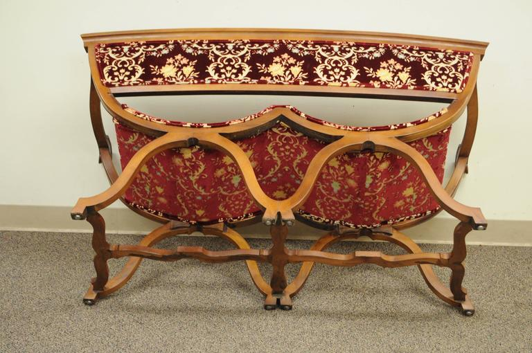 Upholstery Vintage Hollywood Regency Double Curule X-Form Two-Seat Savonarola Bench Chair For Sale