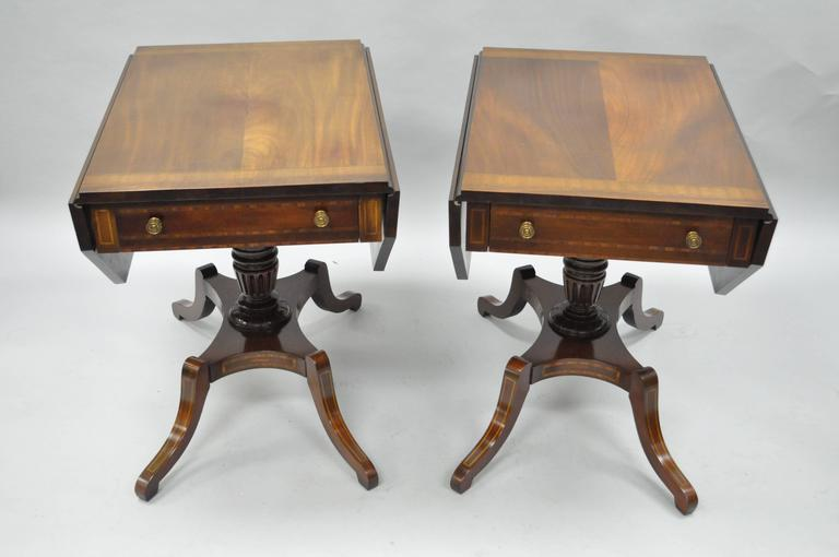 Pair Of Regency Style Mahogany Banded Inlaid Drop Leaf Pembroke End Tables 2