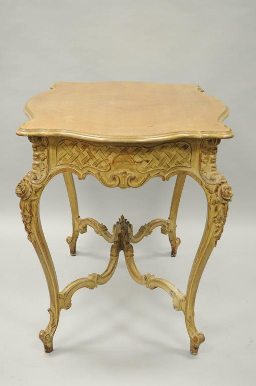 19th Century French Country Louis XV Style Carved and Distressed Dressing Table Writing Desk For Sale