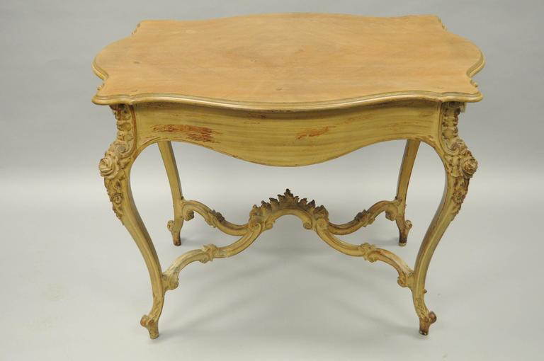 Wood French Country Louis XV Style Carved and Distressed Dressing Table Writing Desk For Sale