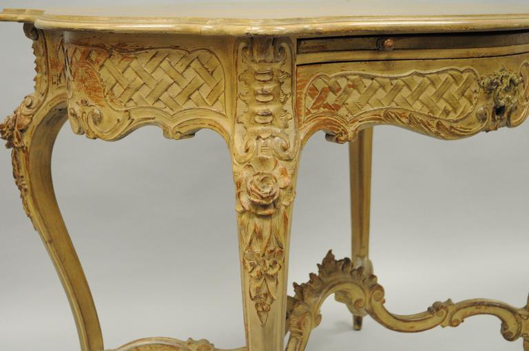 Hand-Carved French Country Louis XV Style Carved and Distressed Dressing Table Writing Desk For Sale