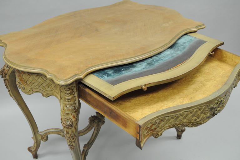 French Country Louis XV Style Carved and Distressed Dressing Table Writing Desk In Distressed Condition For Sale In Philadelphia, PA