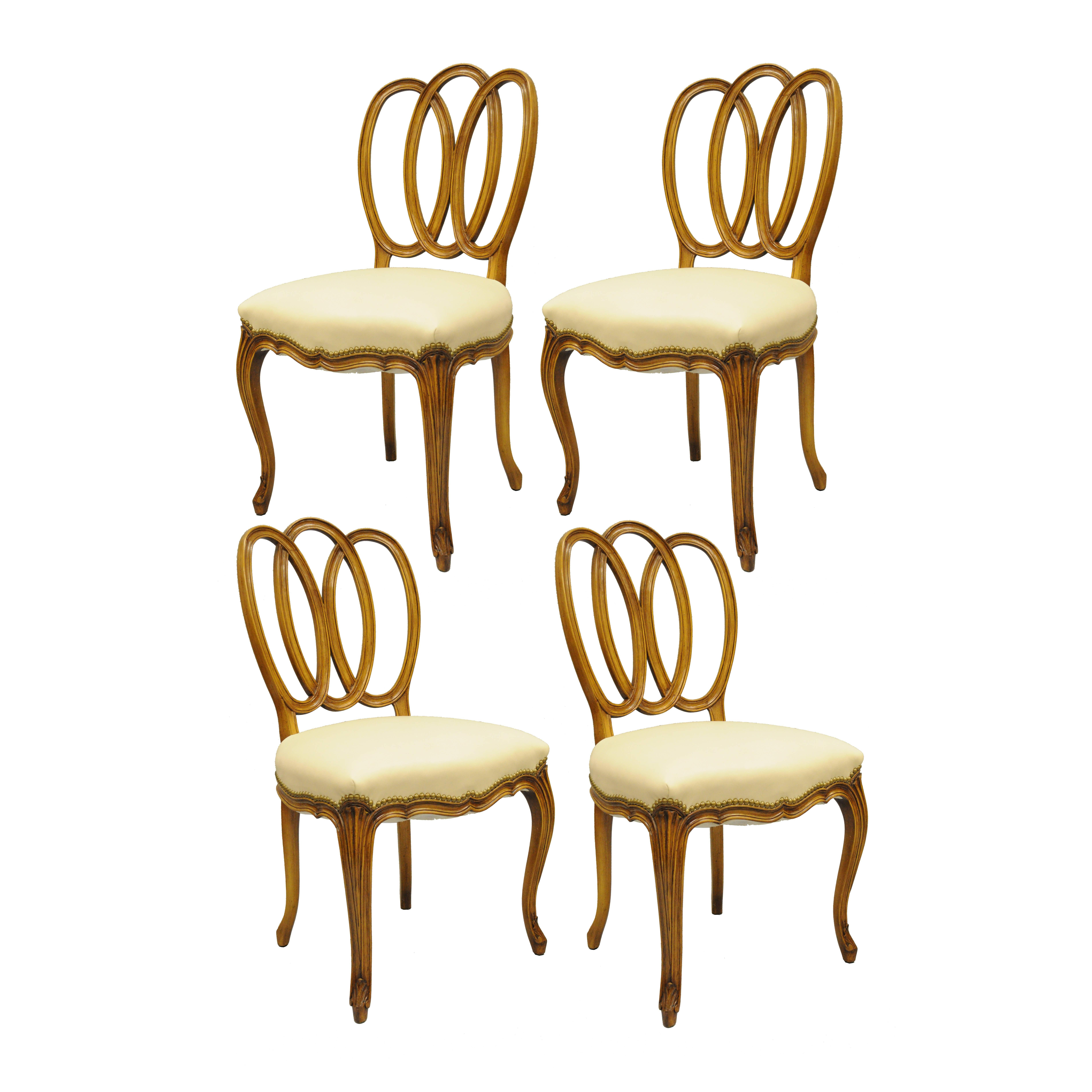 Set of 4 French Provincial Triple Oval Pretzel Back Walnut Leather Dining Chairs