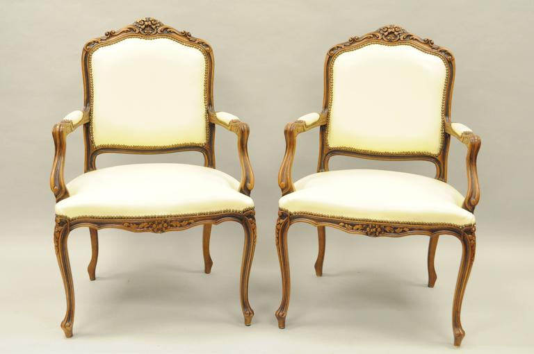 Pair Of Vintage Italian Carved Walnut French Country Or Louis XV Style  Armchairs By Chateau D