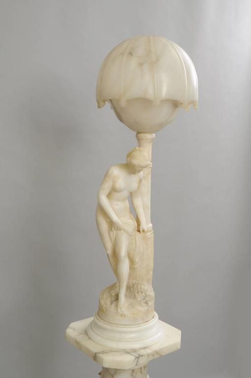 Art Nouveau Carved Alabaster and Marble Lamp on Pedestal Figural Nude Deco Woman For Sale 5