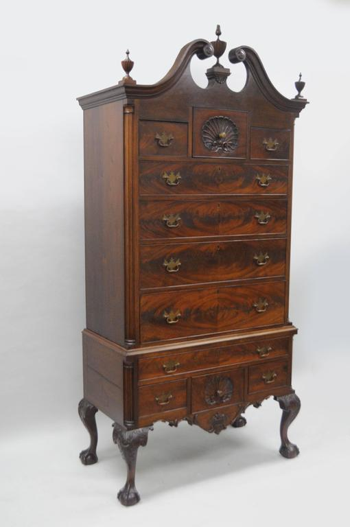 Large Crotch Mahogany Chippendale Style Highboy Chest Of