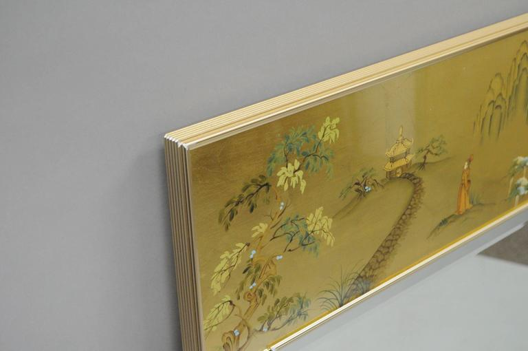 Glass Labarge Chinoiserie Style Gold Eglomise Wall Mirror Reverse Painted Asian Signed For Sale