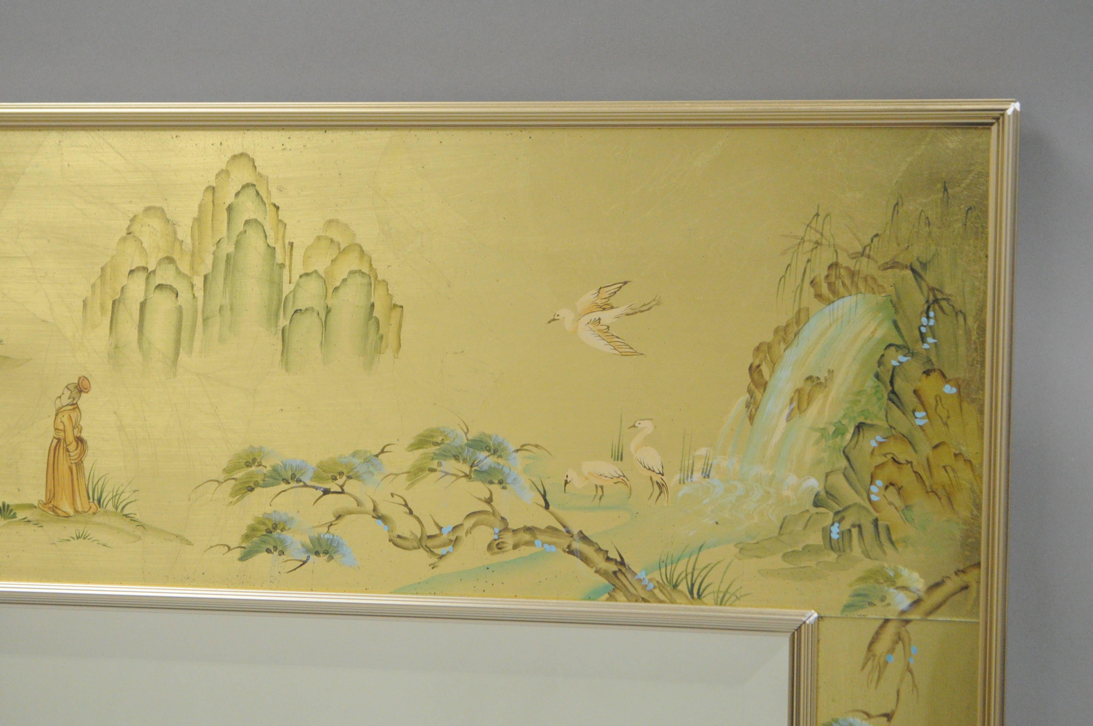 Labarge Chinoiserie Style Gold Eglomise Wall Mirror Reverse Painted ...