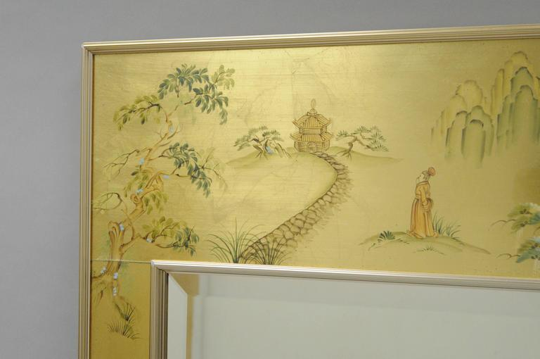 American Labarge Chinoiserie Style Gold Eglomise Wall Mirror Reverse Painted Asian Signed For Sale