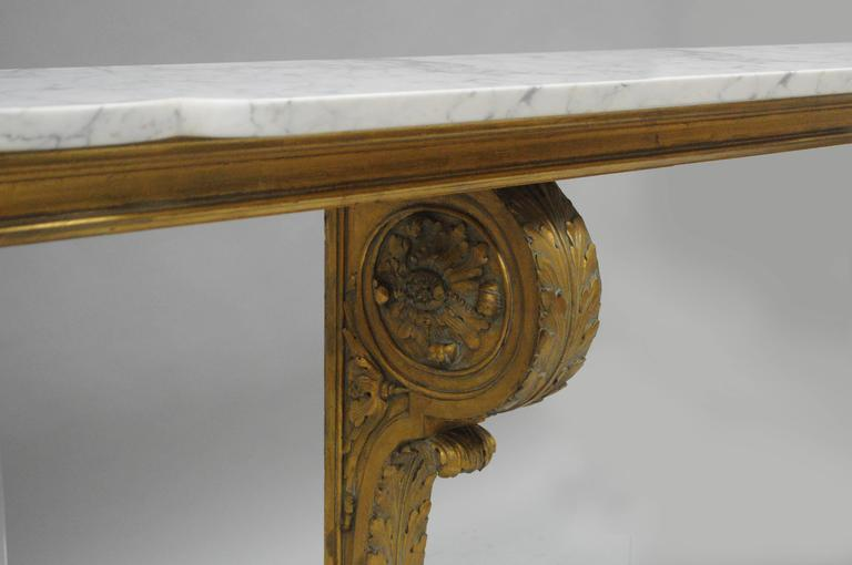 Long French Baroque Style Marble Top Wall Mount Gold