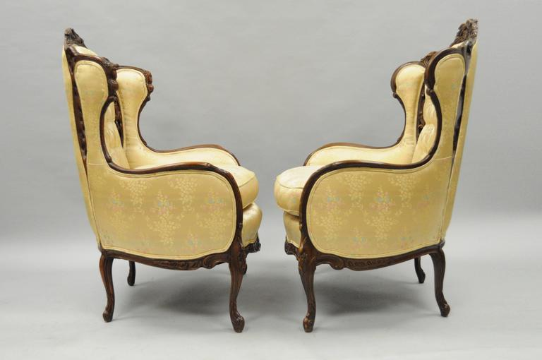 Pair Of Carved Wingback French Louis Xv Style Chairs Figural Living Room Parlor For Sale At 1stdibs