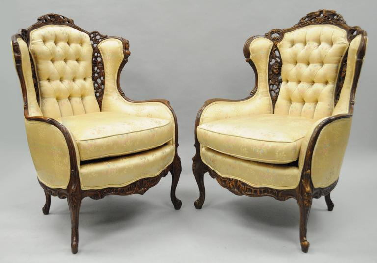 Pair Of Carved Wingback French Louis Xv Style Chairs