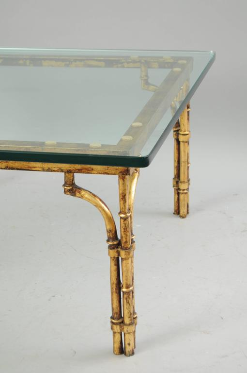 Italian gold gilt iron and glass faux bamboo metal square coffee table vintage for sale at 1stdibs Metal square coffee table