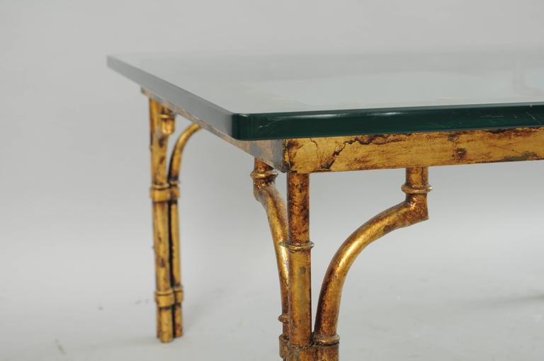 Italian Gold Gilt Iron And Glass Faux Bamboo Metal Square Coffee Table Vintage For Sale At 1stdibs