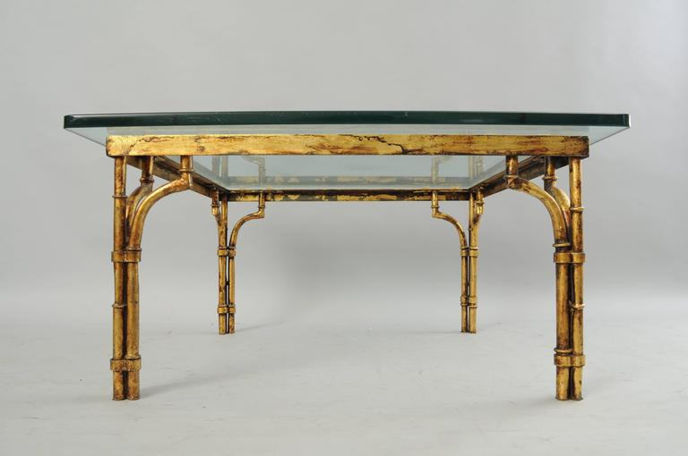 Vintage Italian Hollywood Regency Gold Gilt Iron And Glass Faux Bamboo  Square Coffee Table. Item