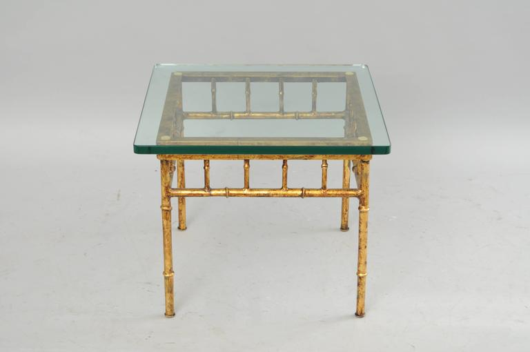 Late 20th Century Italian Gold Gilt Iron and Glass Faux Bamboo Metal Square Low Accent Side Table For Sale
