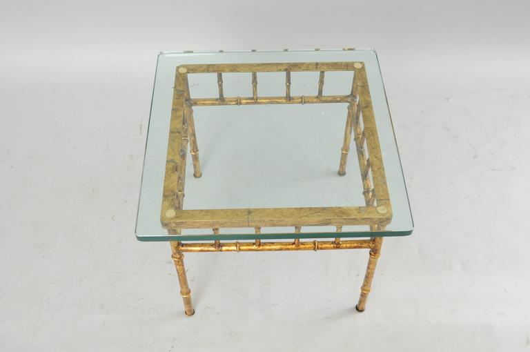 Italian Gold Gilt Iron and Glass Faux Bamboo Metal Square Low Accent Side Table In Good Condition For Sale In Philadelphia, PA