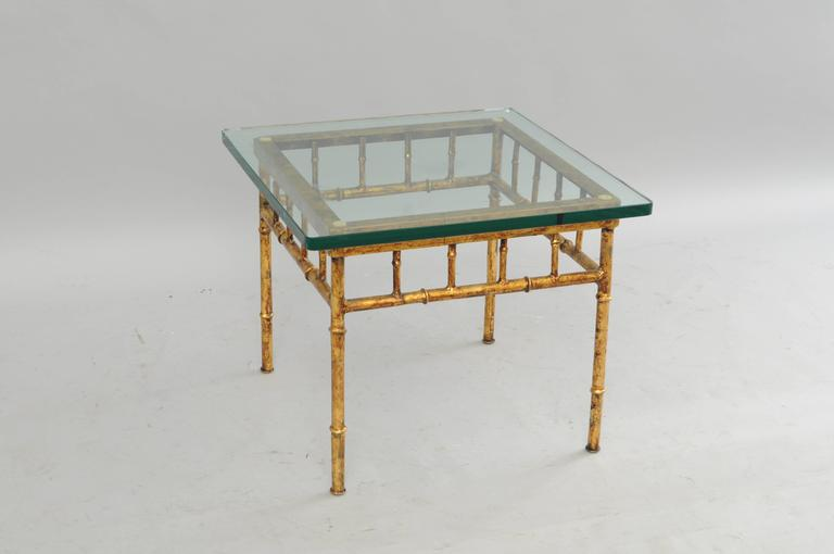 Italian Gold Gilt Iron and Glass Faux Bamboo Metal Square Low Accent Side Table For Sale 4