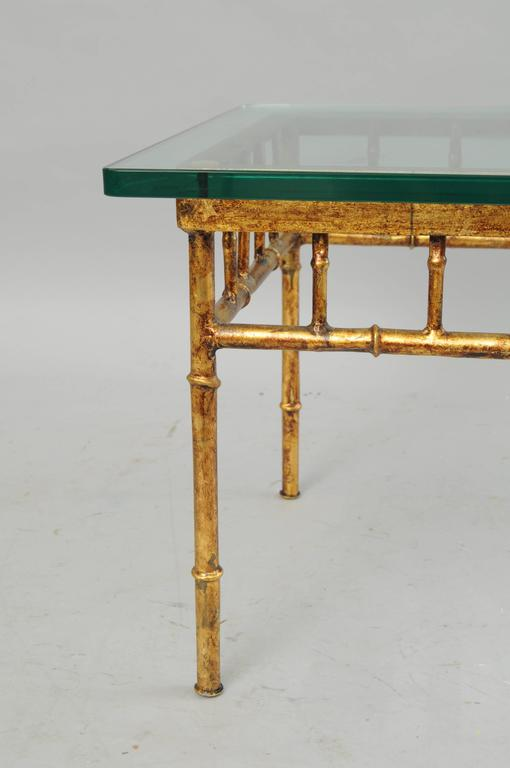 Italian Gold Gilt Iron and Glass Faux Bamboo Metal Square Low Accent Side Table For Sale 2