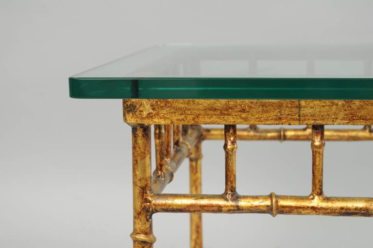 Italian Gold Gilt Iron and Glass Faux Bamboo Metal Square Low Accent Side Table For Sale 3