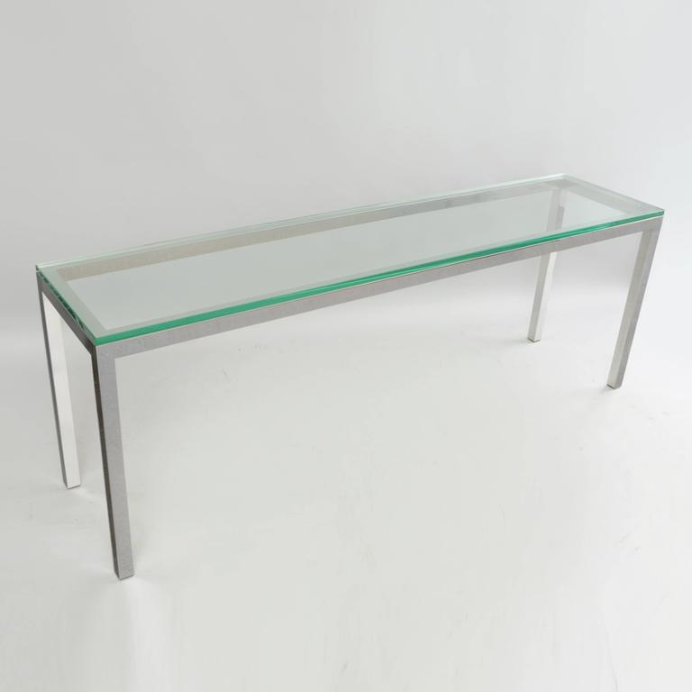 Vintage chrome and glass console sofa hall table long for Long hall tables furniture