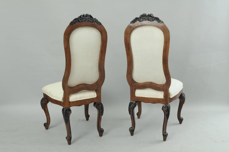 Set of 8 french country baroque style upholstered high for Baroque style dining chairs