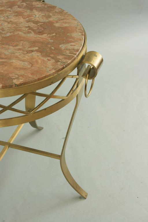 20th C. French Neoclassical Style Bronze Round Marble Top Gueridon Side Table  For Sale 3