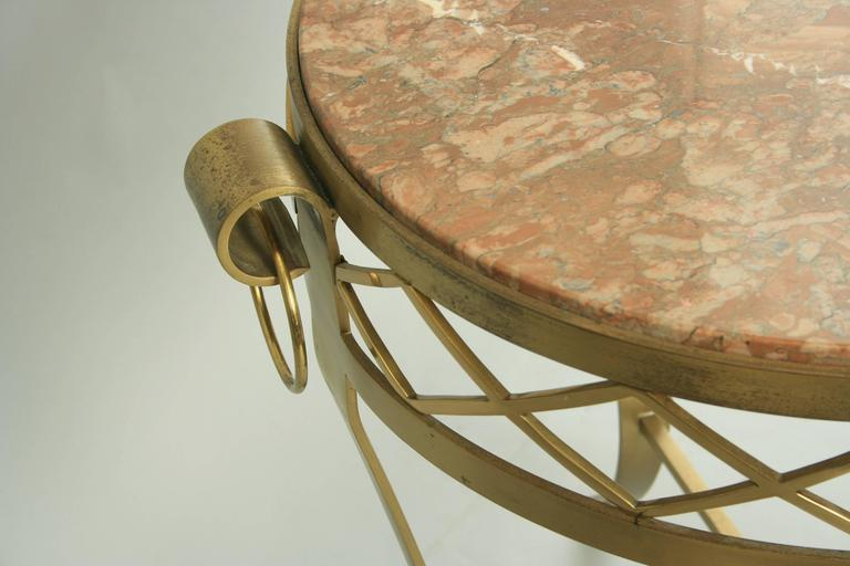 20th C. French Neoclassical Style Bronze Round Marble Top Gueridon Side Table  For Sale 4