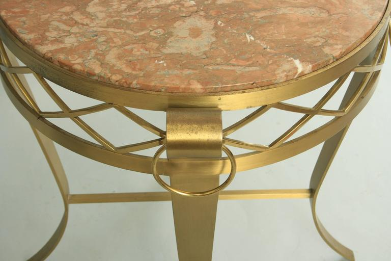 20th Century 20th C. French Neoclassical Style Bronze Round Marble Top Gueridon Side Table  For Sale