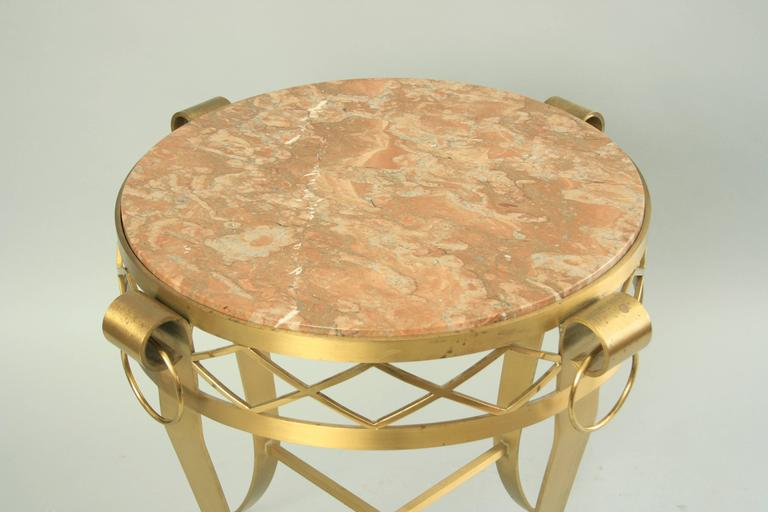 20th C. French Neoclassical Style Bronze Round Marble Top Gueridon Side Table  In Good Condition For Sale In Philadelphia, PA