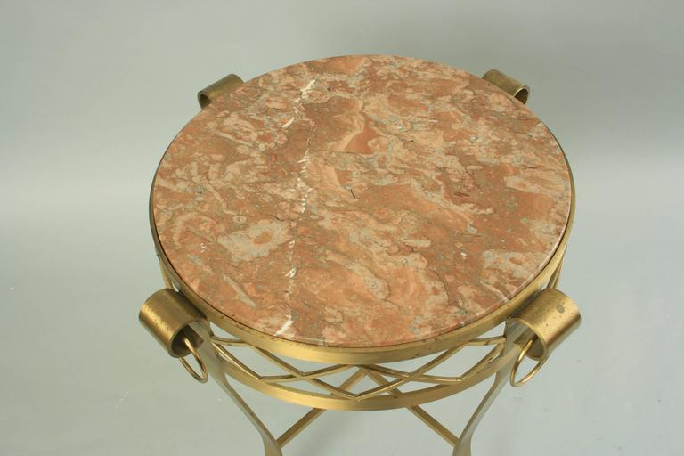20th C. French Neoclassical Style Bronze Round Marble Top Gueridon Side Table  For Sale 2
