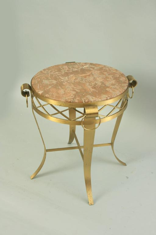 20th C. French Neoclassical Style Bronze Round Marble Top Gueridon Side Table  For Sale 6