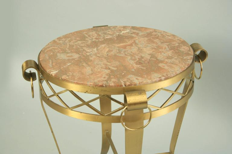 20th C. French Neoclassical Style Bronze Round Marble Top Gueridon Side Table  For Sale 5