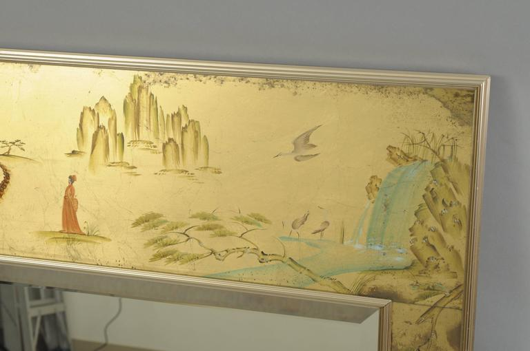 Labarge Chinoiserie Style Gold Églomisé Wall Mirror Reverse Painted ...