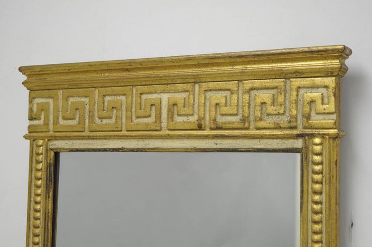 Italian Neoclassical Style Gold Greek Key Wall Mount Console Table And  Mirror In Distressed Condition For