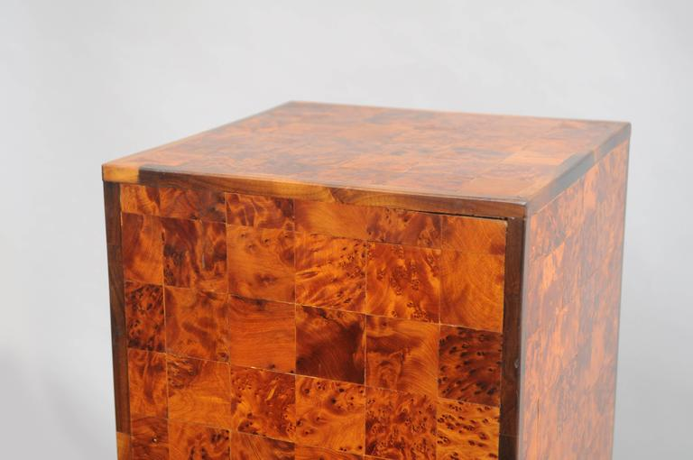 20th Century Burl Wood Patchwork Pedestal Stand Burl Wood and Rosewood Trim Square Column For Sale