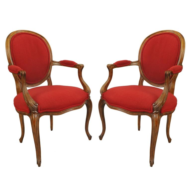 Pair of Baker French Country Louis XV Style Armchairs Oval Upholstered Back