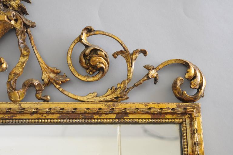 Early 20th Century Carved Gold Giltwood and Gesso English Robert Adam Style Wall Mirror Rectangular For Sale