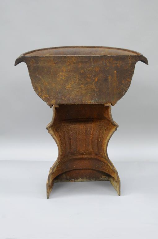 Antique French Cast Iron Half Round Wall Mount Garden Planter Pedestal Urn  Form For Sale 4