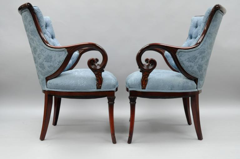 Pair Of Antique Hollywood Regency Blue Tufted Upholstery Mahogany Frame  Living Room Armchairs With Rosewood And