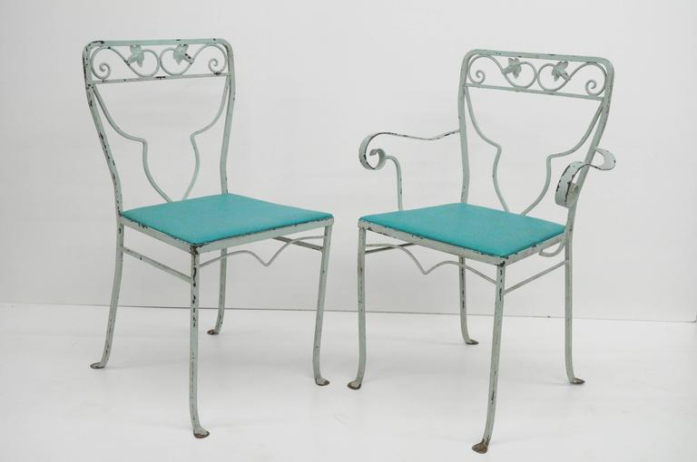 Vintage Seven Piece Salterini Blue Painted Wrought Iron Mid Century Patio  Dining Set.