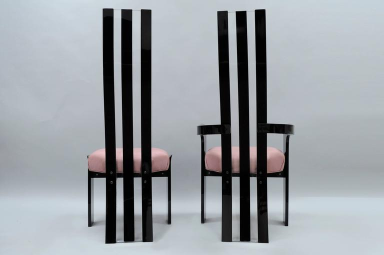Acrylic Set of 6 Hill Mfg Mid Century Modern Black Clear Lucite Sculptural Dining Chairs For Sale