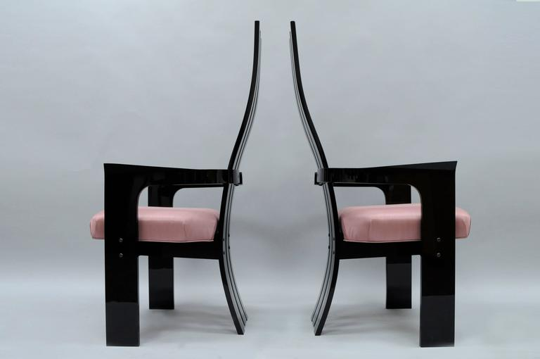 Set of 6 Hill Mfg Mid Century Modern Black Clear Lucite Sculptural Dining Chairs For Sale 3