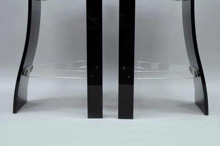 20th Century Pair of Black Lucite Hill Mfg. Sculptural Bar Stools after Charles Hollis Jones For Sale