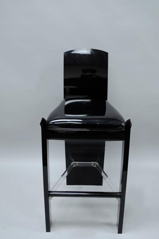 American Pair of Black Lucite Hill Mfg. Sculptural Bar Stools after Charles Hollis Jones For Sale